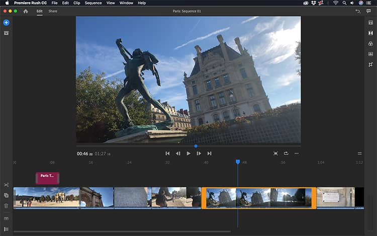 Adobe Premiere Rush 1.5.2 for macOS Free Download