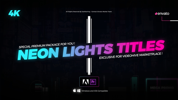 VideoHive Neon Lights Titles 4K Free Download